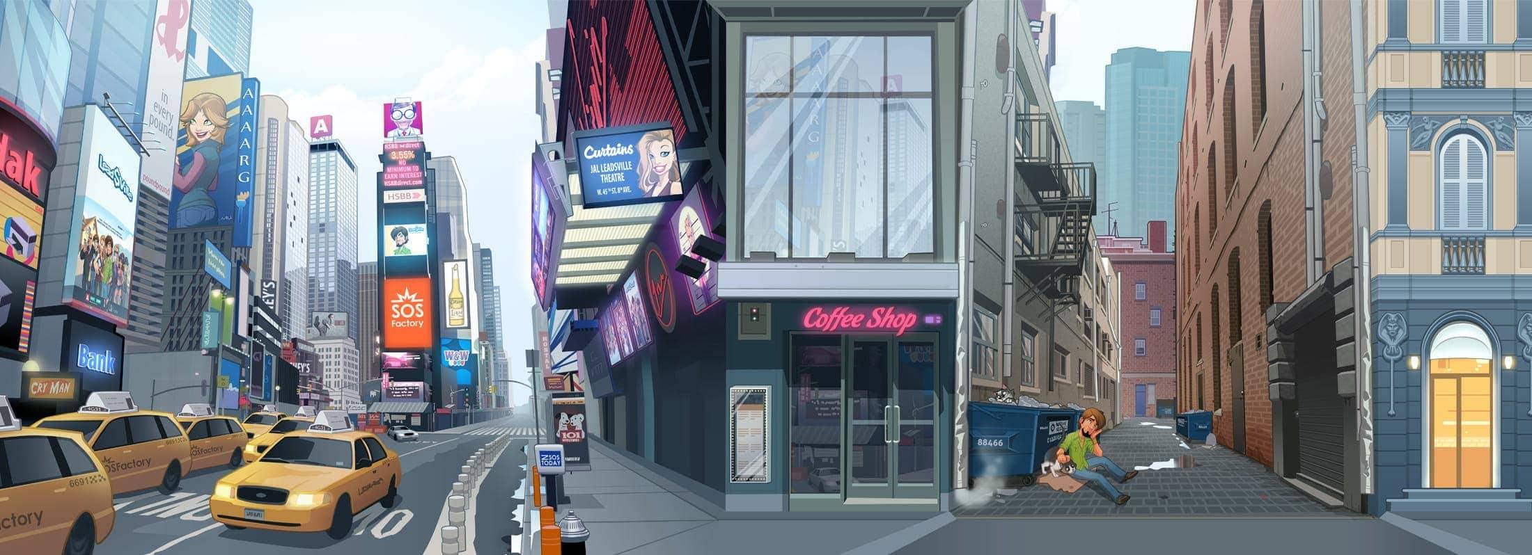 game illustration new york skyline