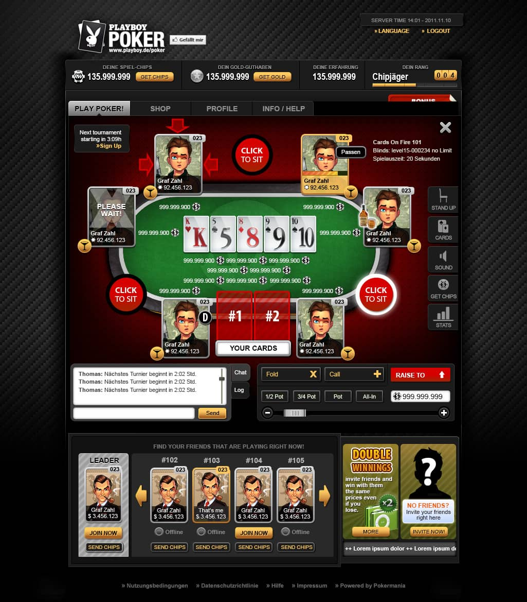 app interface poker
