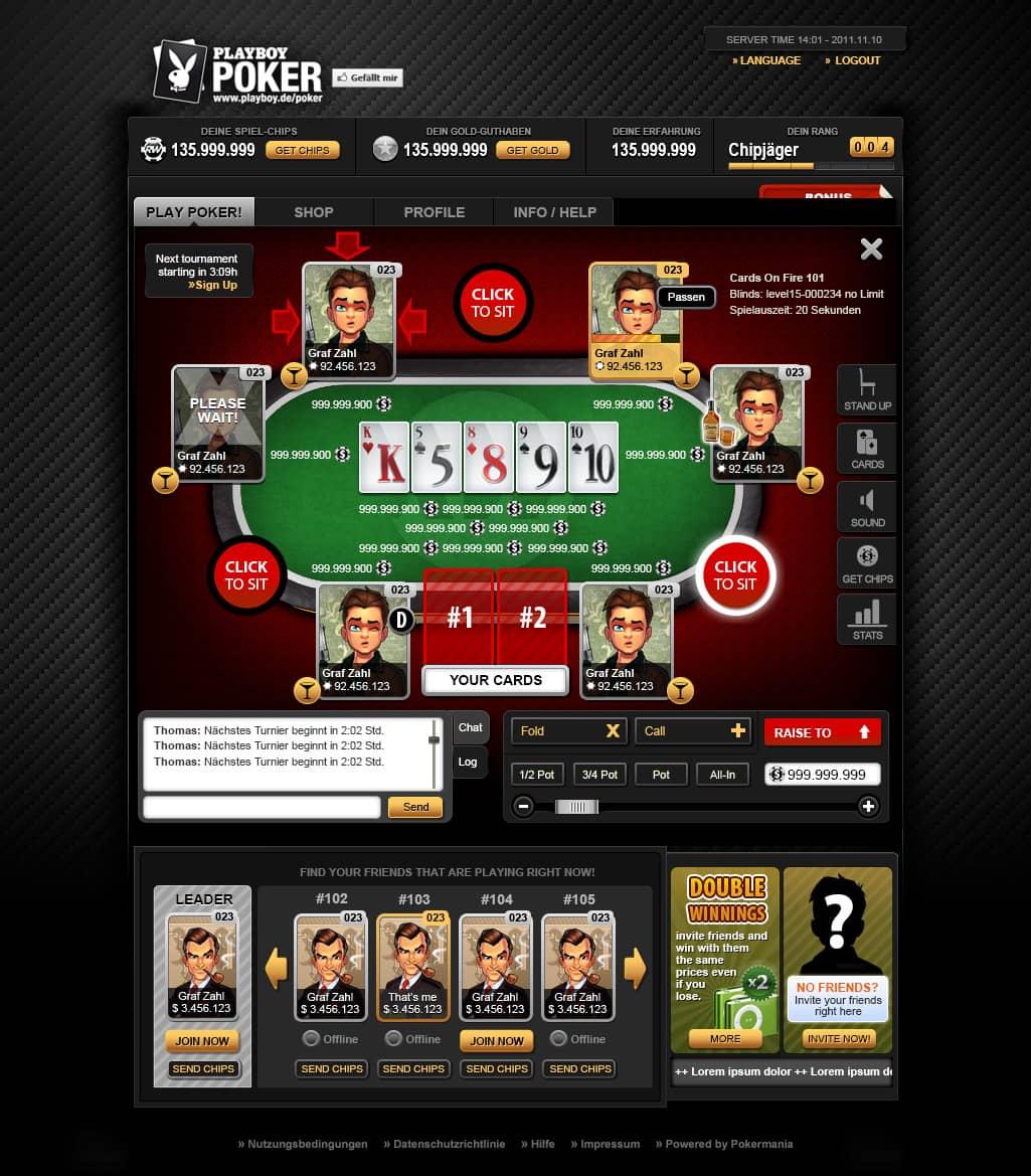 app interface poker