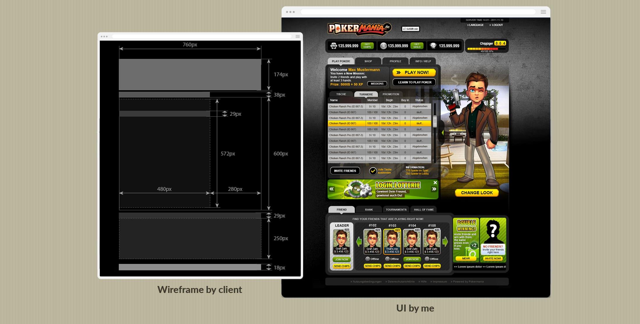 app wireframe to UI