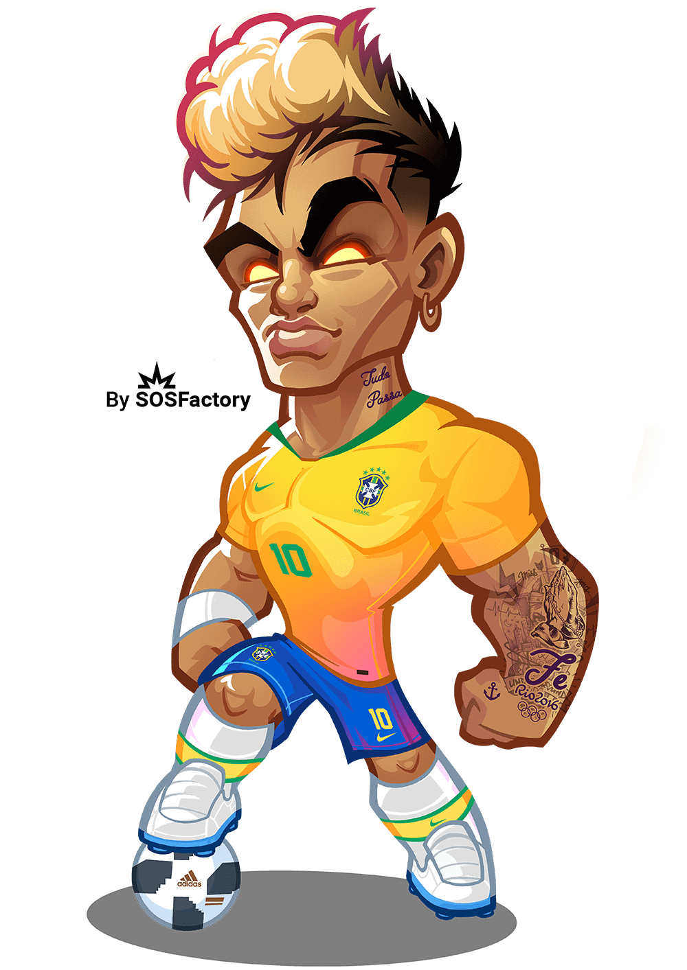 neymar jr caricature