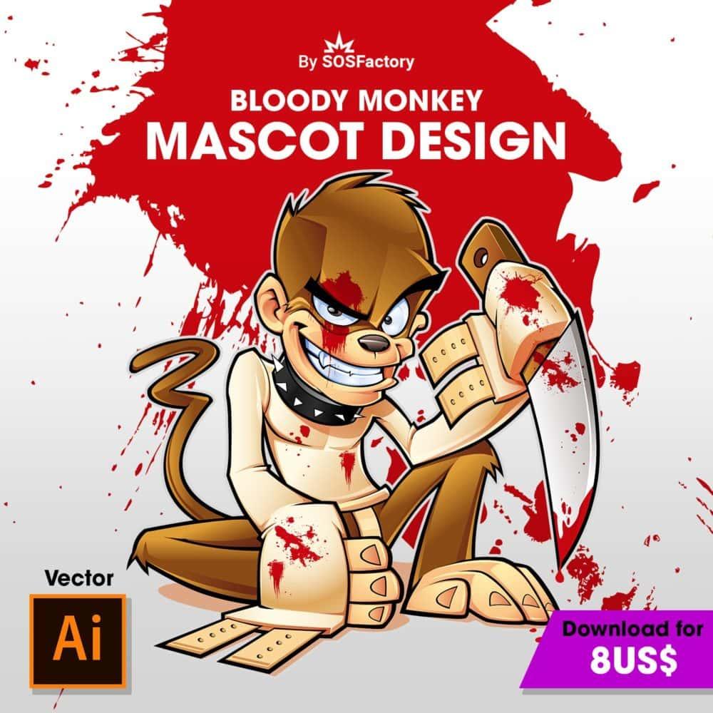 diseño mascota corporativa bloody monkey