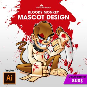 stock vector mascot design bloody monkey