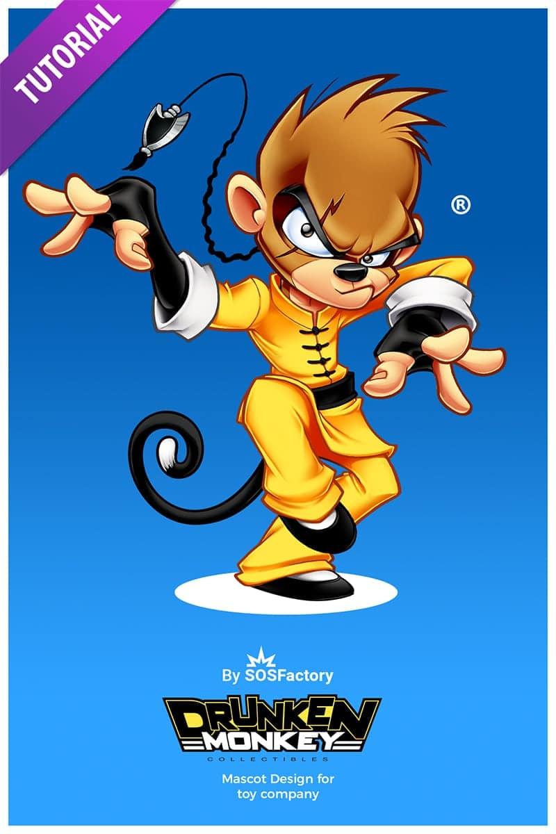 drunken monkey mascot design