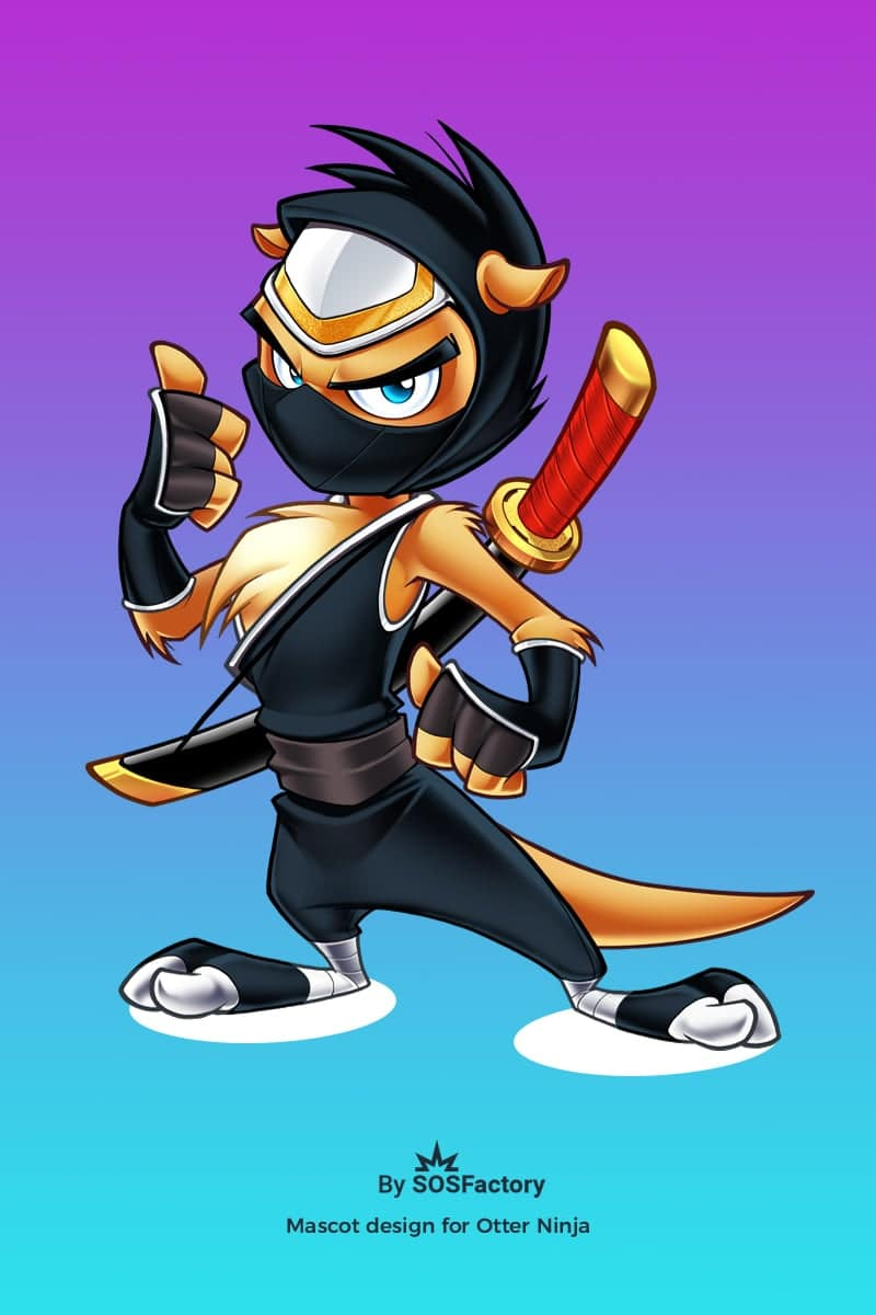 otter ninja mascot design