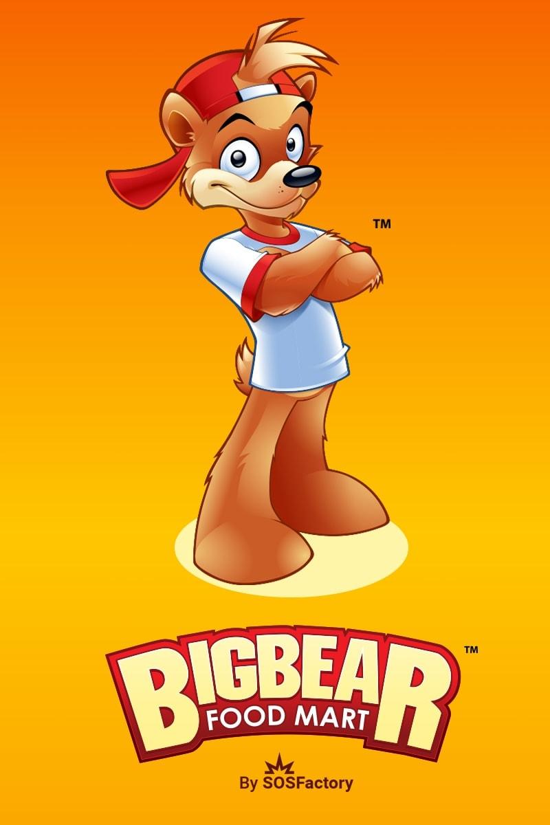 big bear food mart mascot and logo design