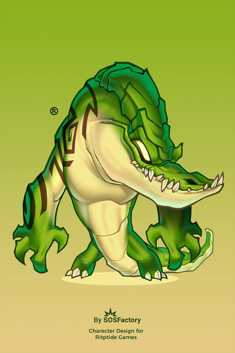 Croc character design for creature games