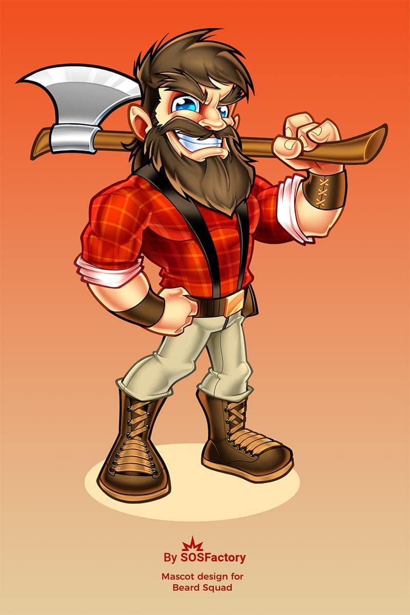 beard squad mascot design