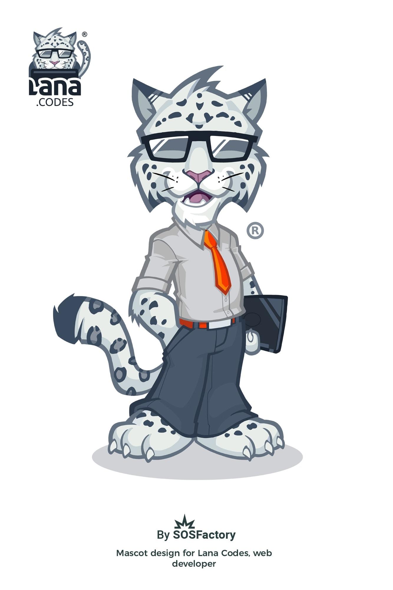 White tiger mascot design for Lana Codes