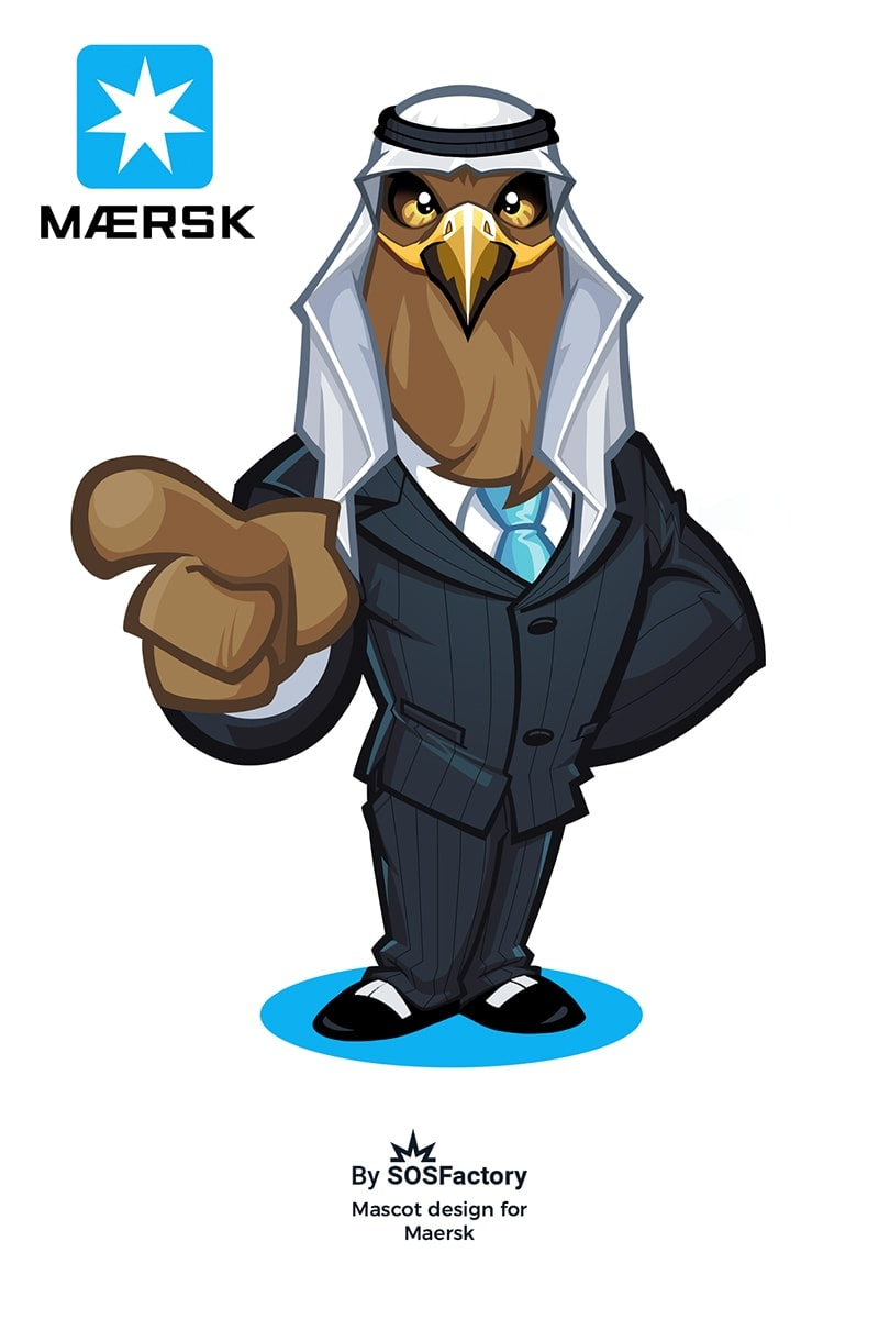 Falcon Mascot Design for Maersk