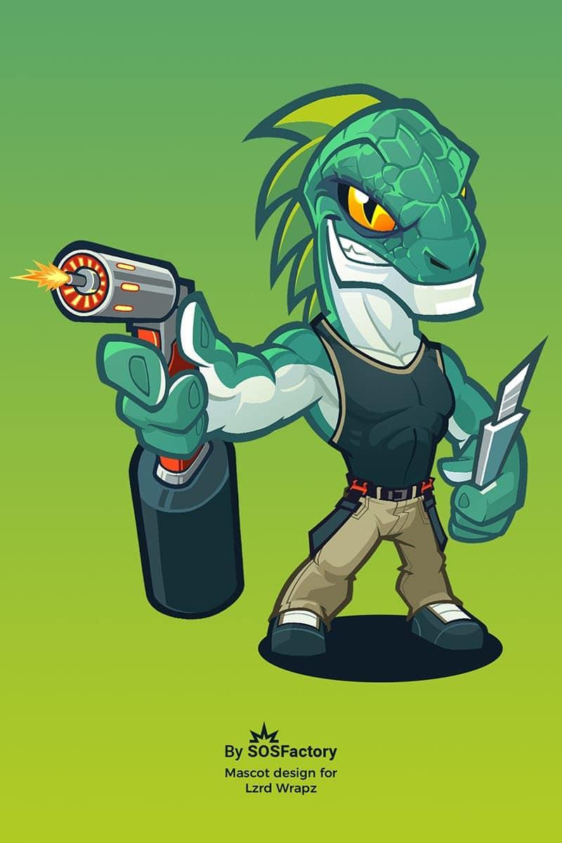Iguana mascot design for LRZD WARPZ