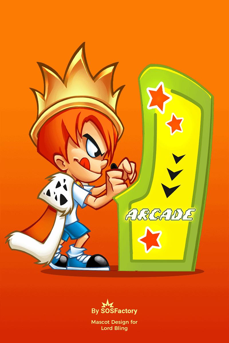 LordBling mascot design Arcade