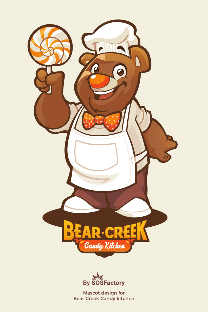 Mascot logo for Bear Creek candy kitchen