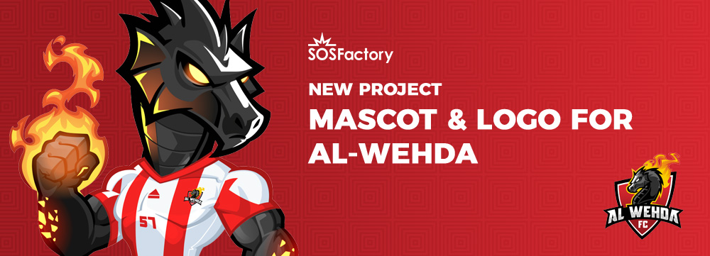 al-wehda logotipo y mascota deportiva